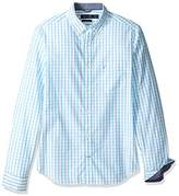 Nautica Men's Long Sleeve Tattersal Plaid Button Down Shirt