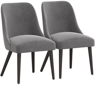 One Kings Lane Set of 2 Barron Side Chairs - Gray Velvet