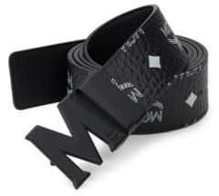 MCM Men's Logo-Print Belt - Black