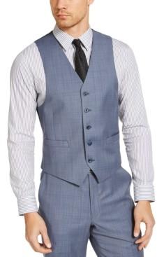 Michael Kors Men's Classic-Fit Airsoft Stretch Light Blue Windowpane Suit Separate Vest