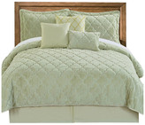 Serenta Ogee Faux Fur Embroidered 7 Piece Bed Spread Set, Light Green, King