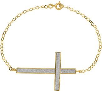 """14K Glimmer Oversized Sidways Cross 7-1/2"""" Bracelet, 1.89g"""