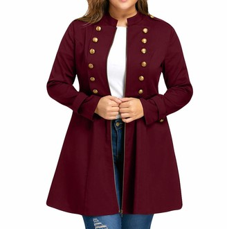 VECDY Women's Autumn and Winter Coat Fashion Large Size Retro Jacket Double-Breasted Trumpet Windbreaker Party Performance Coats(Wine red 26)