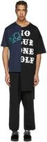 Miharayasuhiro Black and Navy Patchwork T-shirt
