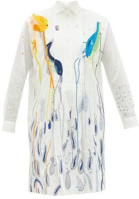 Kilometre Paris - Palma De Mallorca Embroidered Cotton Shirt Dress - Womens - White Multi