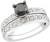 1 ct Black & White Diamond Bridal Set Ring