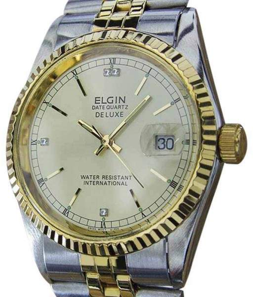 Elgin Datequartz DeLuxe Gold Plated / Stainless Steel Quartz 36mm Mens Watch