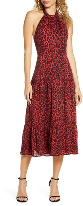 Sam Edelman Red Leopard Halter Midi Dress