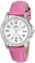 Invicta Women's 16339 Angel Crystal-Accented Stainless Steel Watch with Pink Leather Strap