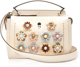 Fendi Dotcom Click Blush Pink Leather Satchel Bag w/Flowers