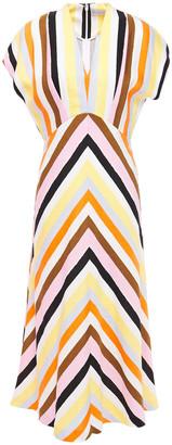 Rebecca Vallance Striped Linen-blend Midi Dress