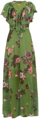 Preen by Thornton Bregazzi Irisa Gathered Floral-print Georgette Maxi Dress - Green Multi