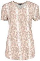 Love Ryan Women's Tee Shirts Camel/Taupe/Ivory - Camel & Taupe Snake V-Neck Tee - Women & Plus