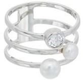 Honora Silver 4-5.5mm Pearl & Swarovski Crystal Ring.