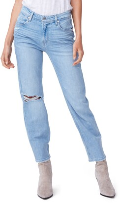 Paige Noella High Waist Ripped Straight Leg Jeans