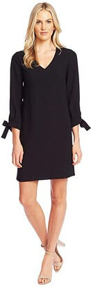 CeCe 3/4 Tie Sleeve V-Neck Dress (Rich Black) Women's Clothing