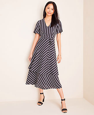 Ann Taylor Stripe Tiered Midi Dress