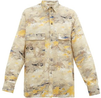 Rochas Abstract-print Cotton-twill Shirt - Beige Multi