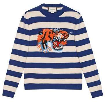 Gucci Striped wool sweater with tiger head
