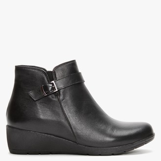 Df By Daniel Mining Black Leather Low Wedge Ankle Boots