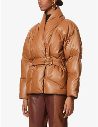 Frame Wrap-front padded leather jacket