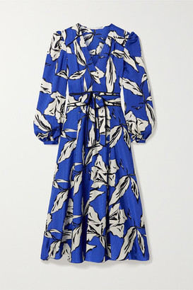 Veronica Beard Mclean Belted Wrap-effect Printed Silk-blend Jacquard Midi Dress - Royal blue