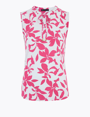 Marks and Spencer Floral Tie Neck Regular Fit Sleeveless Top