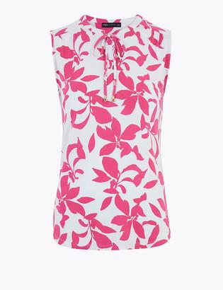 Marks and Spencer Floral V-Neck Sleeveless Shell Top