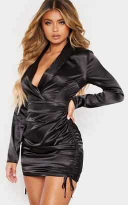 PrettyLittleThing Black Satin Shirt Style Ruched Bodycon Dress