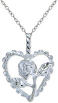 Giani Bernini Rose and Heart Pendant Necklace in Sterling Silver, Only at Macy's