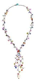 Aeravida Handmade Vibrant Fiesta of Color Mixed Simulated Quartz and Stone Lariat Necklace