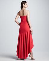 BCBGMAXAZRIA Strapless High-Low Flounced-Hem Gown