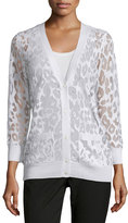 Magaschoni Button-Down Leopard Burnout Cardigan, White