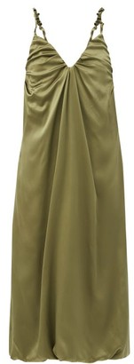 Dodo Bar Or Libi Ruched Silk-satin Dress - Khaki