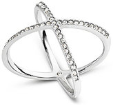 Michael Kors Delicate Stainless Steel and Pave X Ring