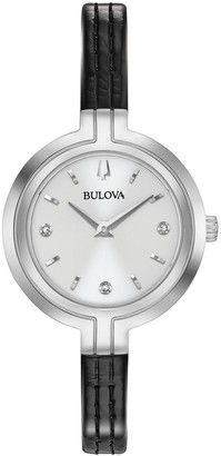 Bulova Women's 96P211 Stainless Slim Diamond Accent Black Leather Strap Watch
