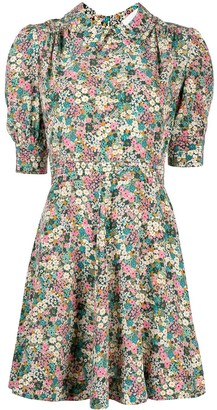 See by Chloe Floral-Print Draped-Sleeved Short Dress