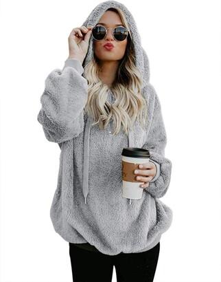 iWoo Womens Warm Zip Up Fleece Hoodie Fluffy Jumper Sweatshirt with Pockets(Dark Gray S)