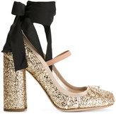 Miu Miu ankle strap glitter pumps