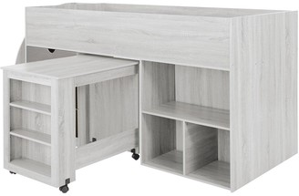Mico Mid Sleeper Bed with Pull-Out Desk andStorage - GrainedWhite/Grey