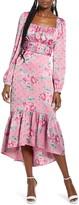 WAYF Floral Belted Bustier Long Sleeve Satin Ruffle Dress