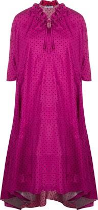 Balenciaga Ruffled-Collar Polka Dot Dress