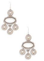 Miguel Ases Triple Pearl Dangle Disc Statement Earrings