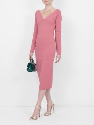Stella McCartney V-neck Midi Dress Pink
