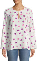 CeCe by Cynthia Steffe Beautiful Petals Crepe Bell-Sleeve Blouse
