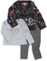 Betsey Johnson Girls 2-6x Faux Leather Moto Jacket, Tee and Leggings Set