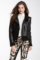 Vince Camuto Leather Funnel Neck Moto Jacket
