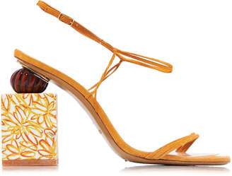 Jacquemus Elme Printed-Heel Leather Sandals