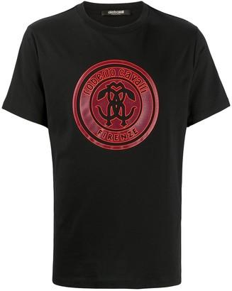 Roberto Cavalli mirror snake tag print T-shirt
