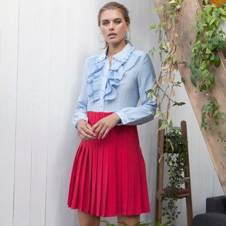Jovonna London Blue Shadi Pleated Ruffle Dress - extra small